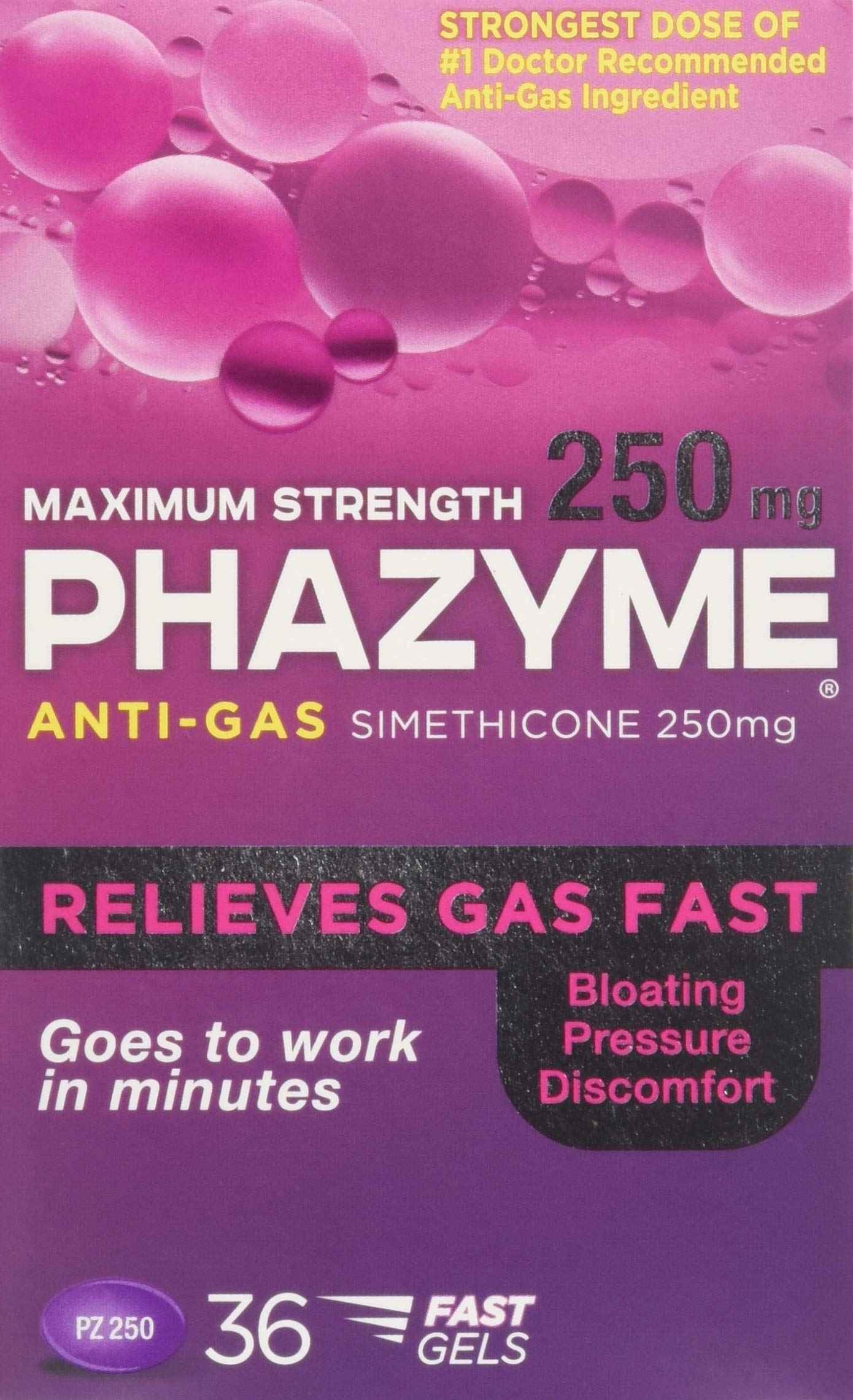 Phazyme Maximum Strength Softgels, 36 ea (Pack of 3) by Phazyme