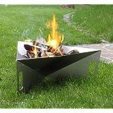 """Thorwa® Design Feuerschale """"Triangle"""" 75cm aus witterungsfestem Edelstahl V2A - Feuerkorb Feuerstelle für Garten / Terrasse"""