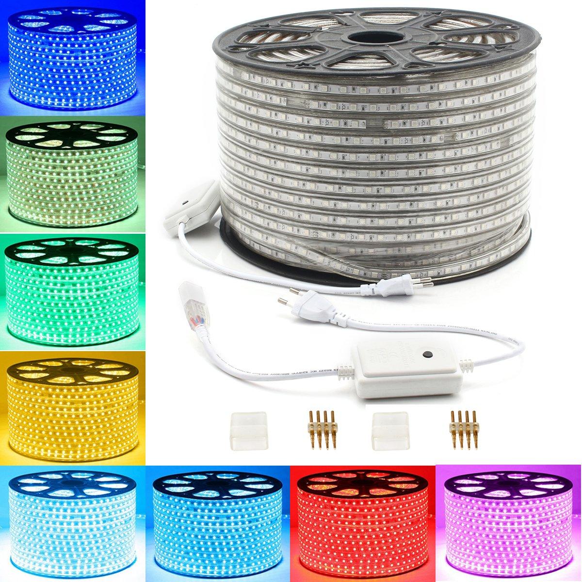GreenSun 30m Ruban à LED Strip Flexible Bande éclairage 5050SMD 60Leds/m étanche Blanc Froid utiliser directement pas besoin de l'adapteur