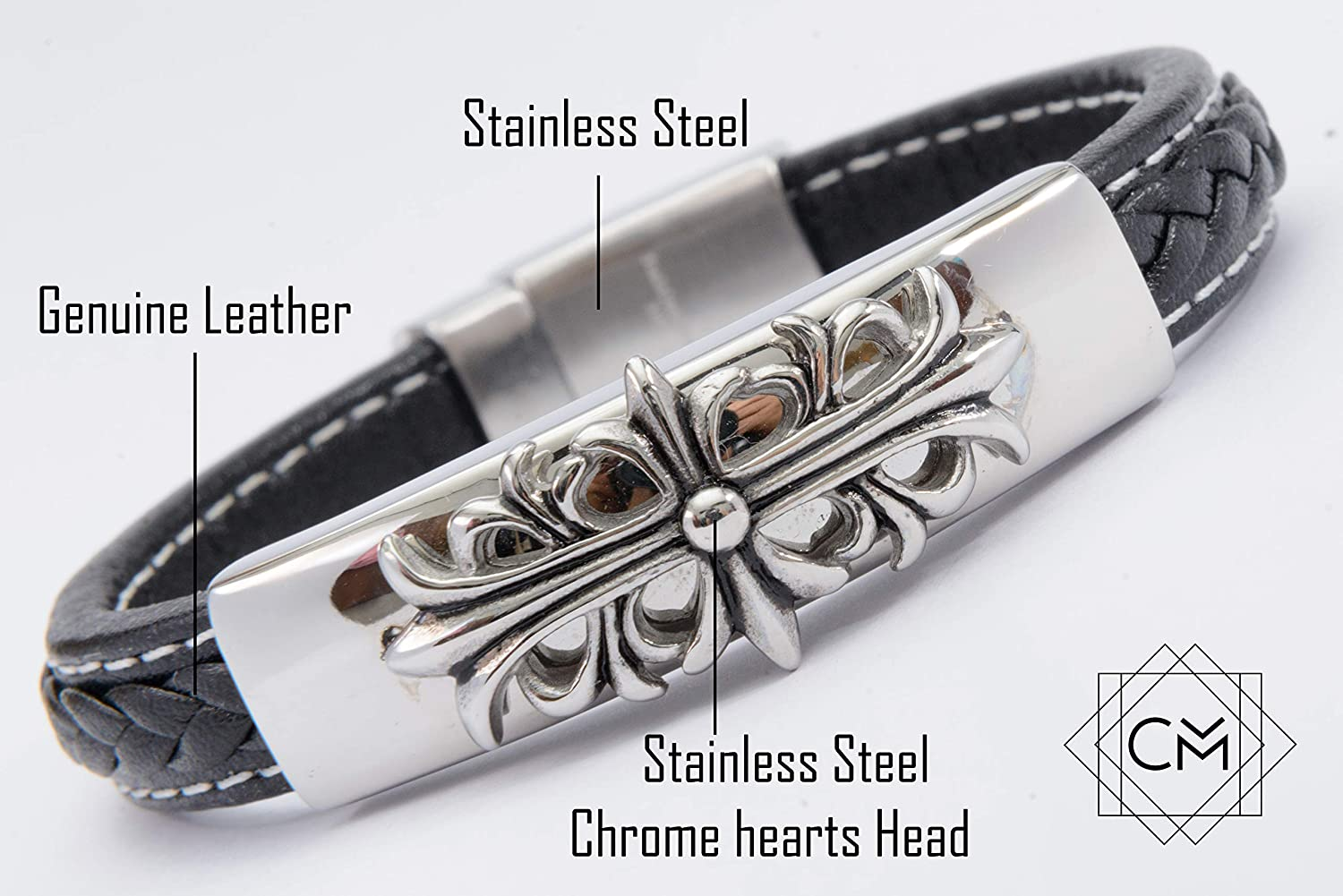6823e1ae808f Amazon.com  Charming Leather Bracelet with Stainless Steel Chrome Hearts  Head  Jewelry