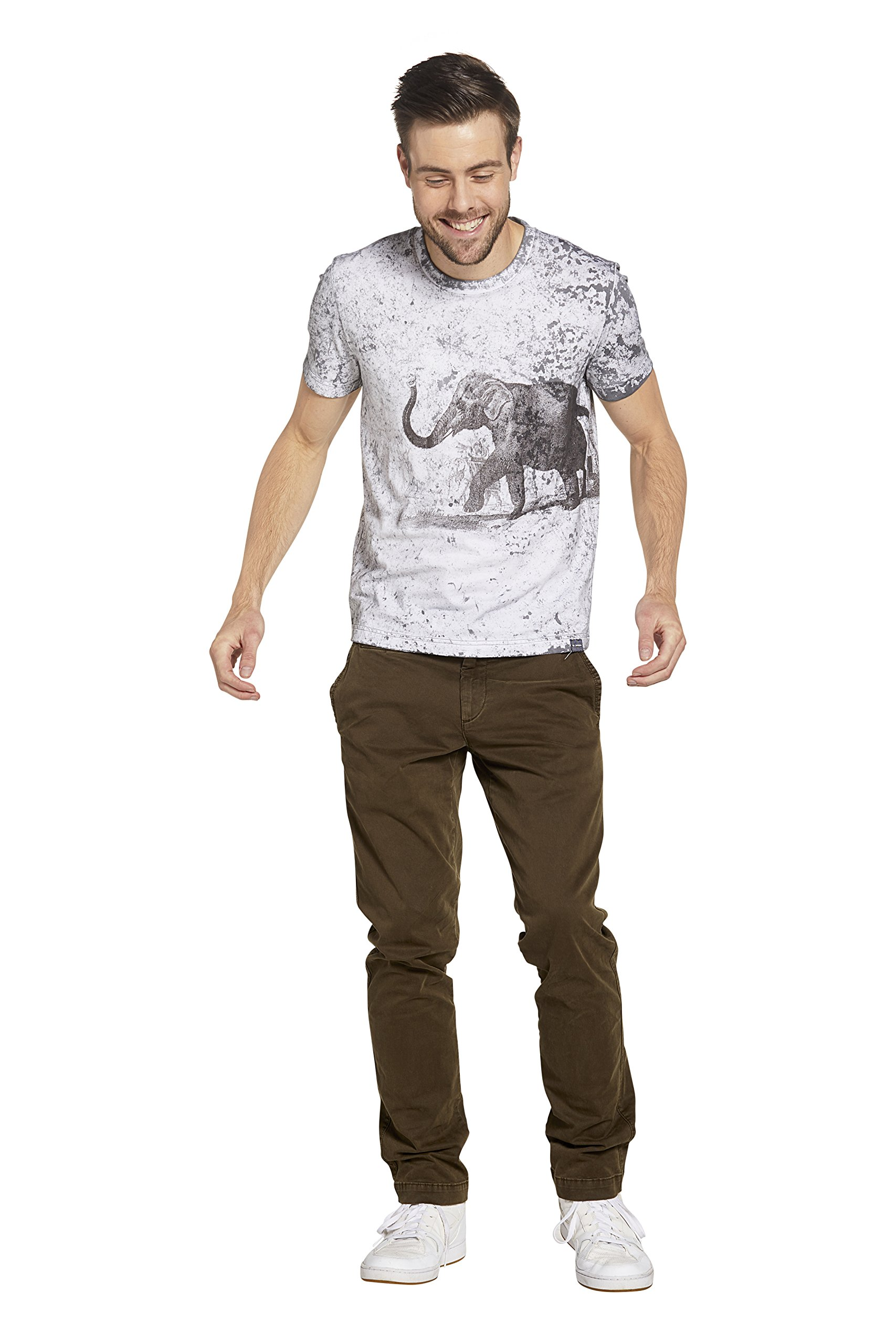 SOIZZI Fashion Men's Fine Cotton Short Sleeve Tee Special WashWith Elephant Print Pattern Ink Grey -M