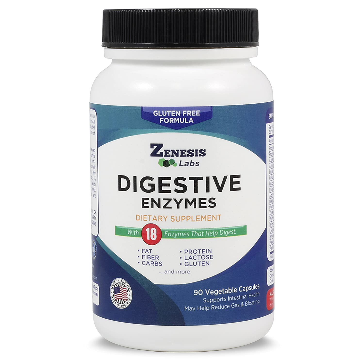 Digestive Enzymes - Amylase, Bromelain, Protease, Lipase & 14 Others - 90 Capsules