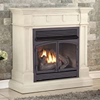 Duluth Forge Dual Fuel Vent Free Fireplace-32,000 BTU, Remote Control, Finish Gas Fireplace Antique White