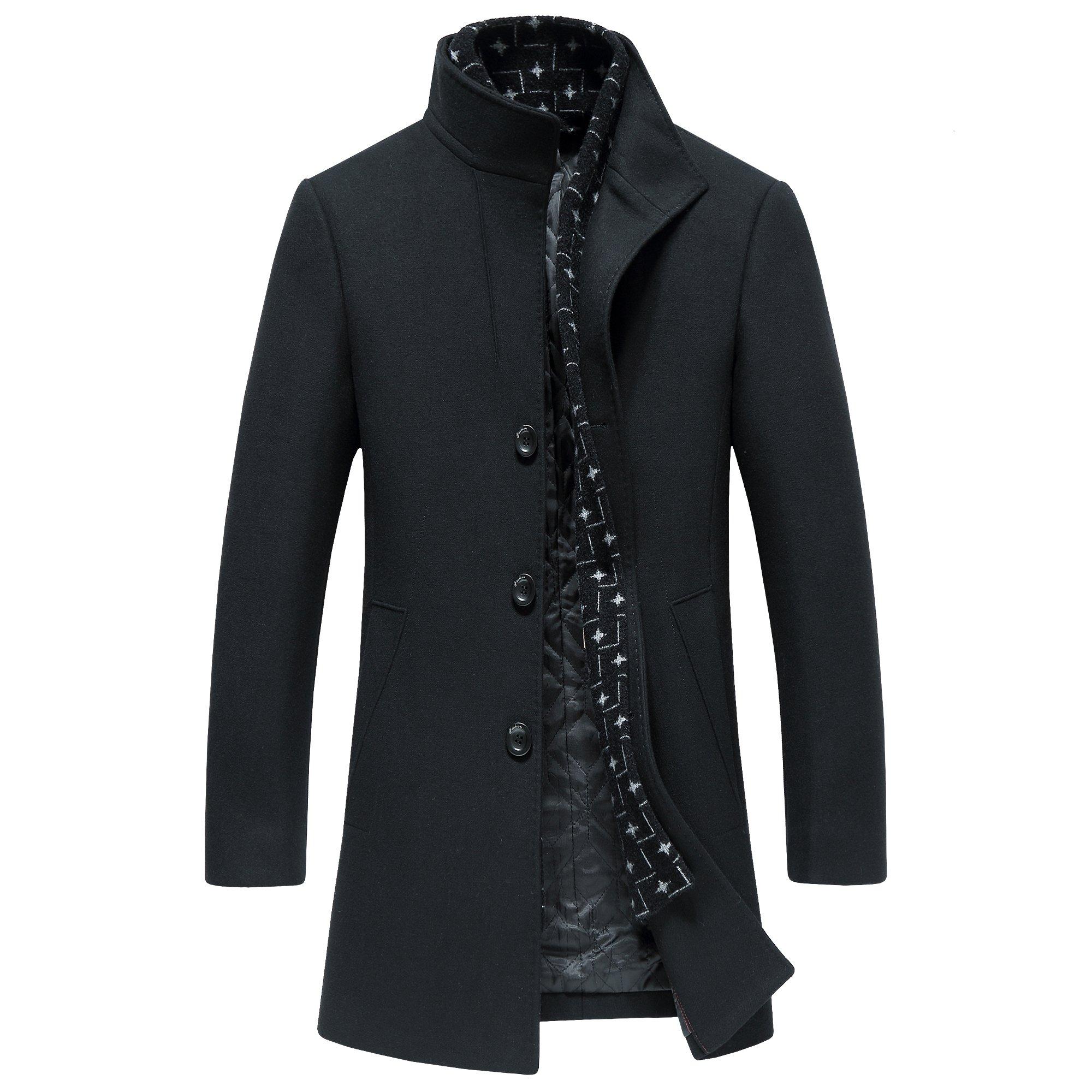 Men's Wool Long Trench Coat Winter Wool Blends Tweed Jackets Warm With Detachable Scarf (XXXL, 8725BLACK)