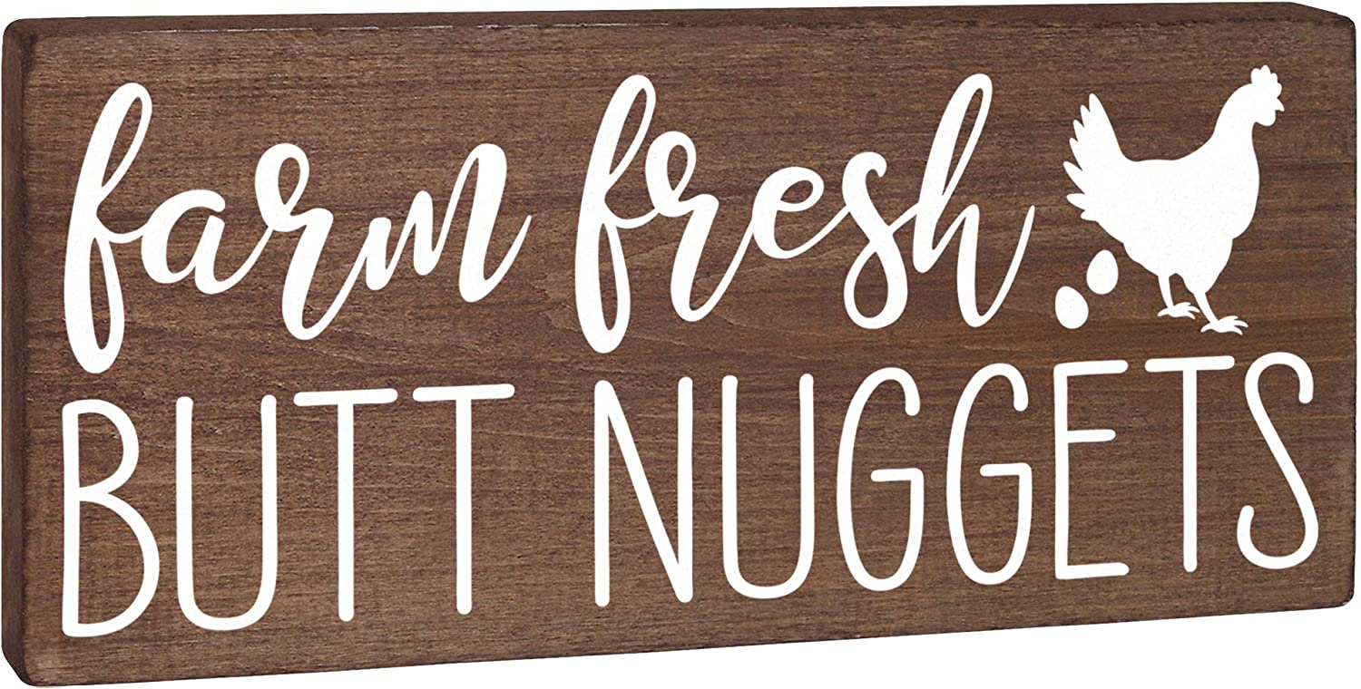 Farm Fresh Butt Nuggets Eggs Sign - Chicken Decor - Funny Hen House Coop Accessories or Rustic Kitchen Wall Art Plaque 5.5x12 Country Home Decoration Farmhouse Barn Accent or Chicken Lover Gift
