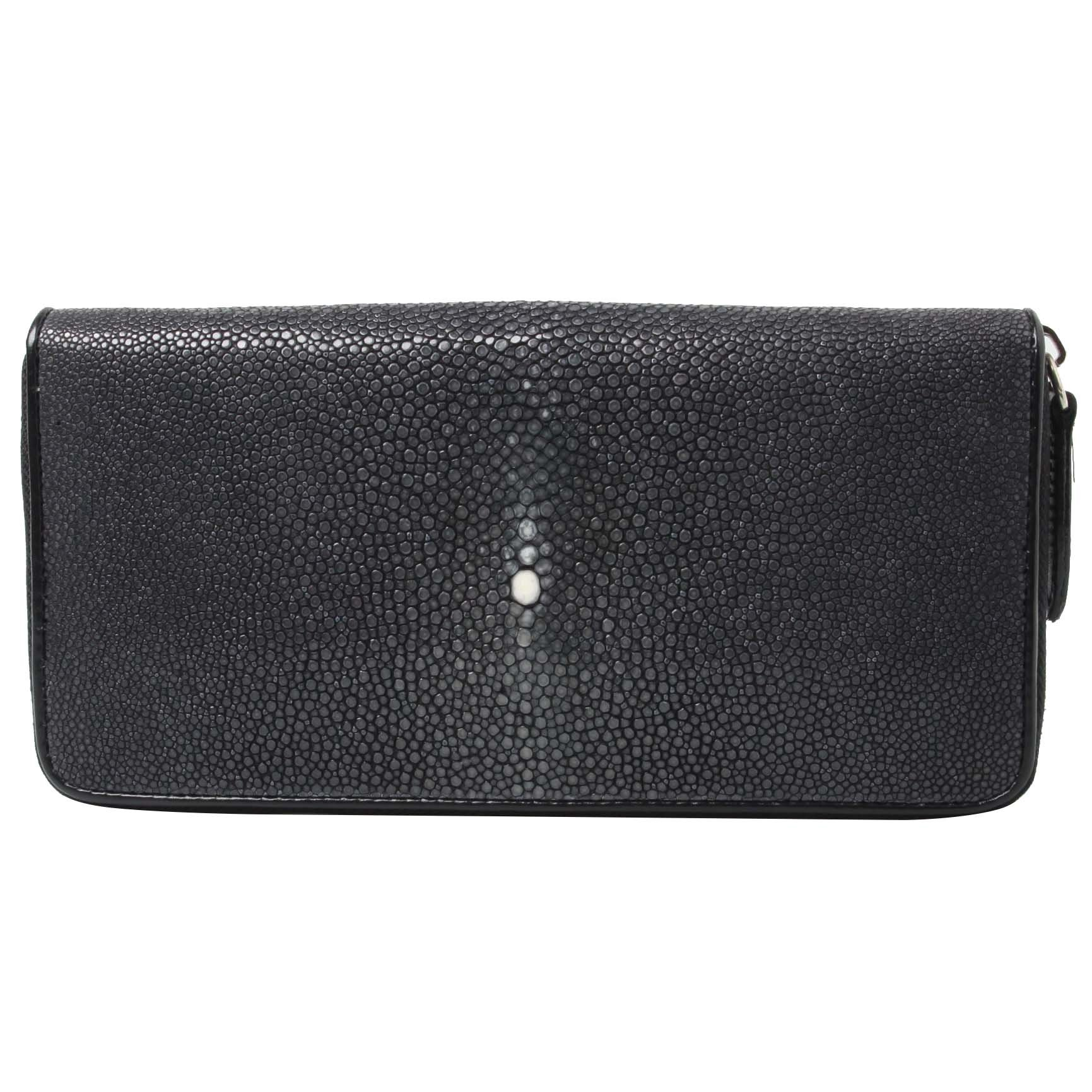 Genuine Polished Stingray Leather Black Clutch Women Zip Around Coin Wallet Purse
