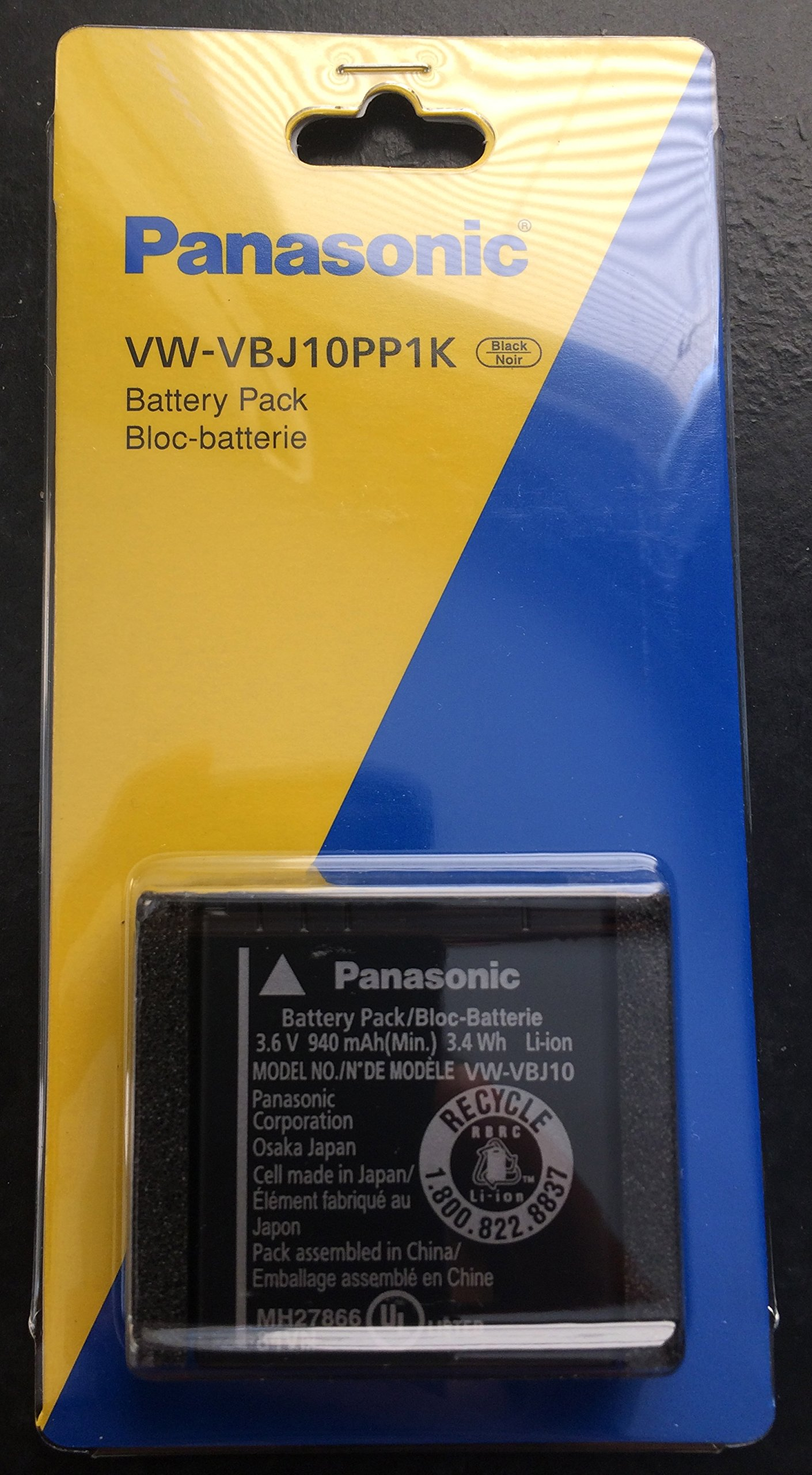 Panasonic Vw-Vbj10 Lithium Ion Camcorder Battery