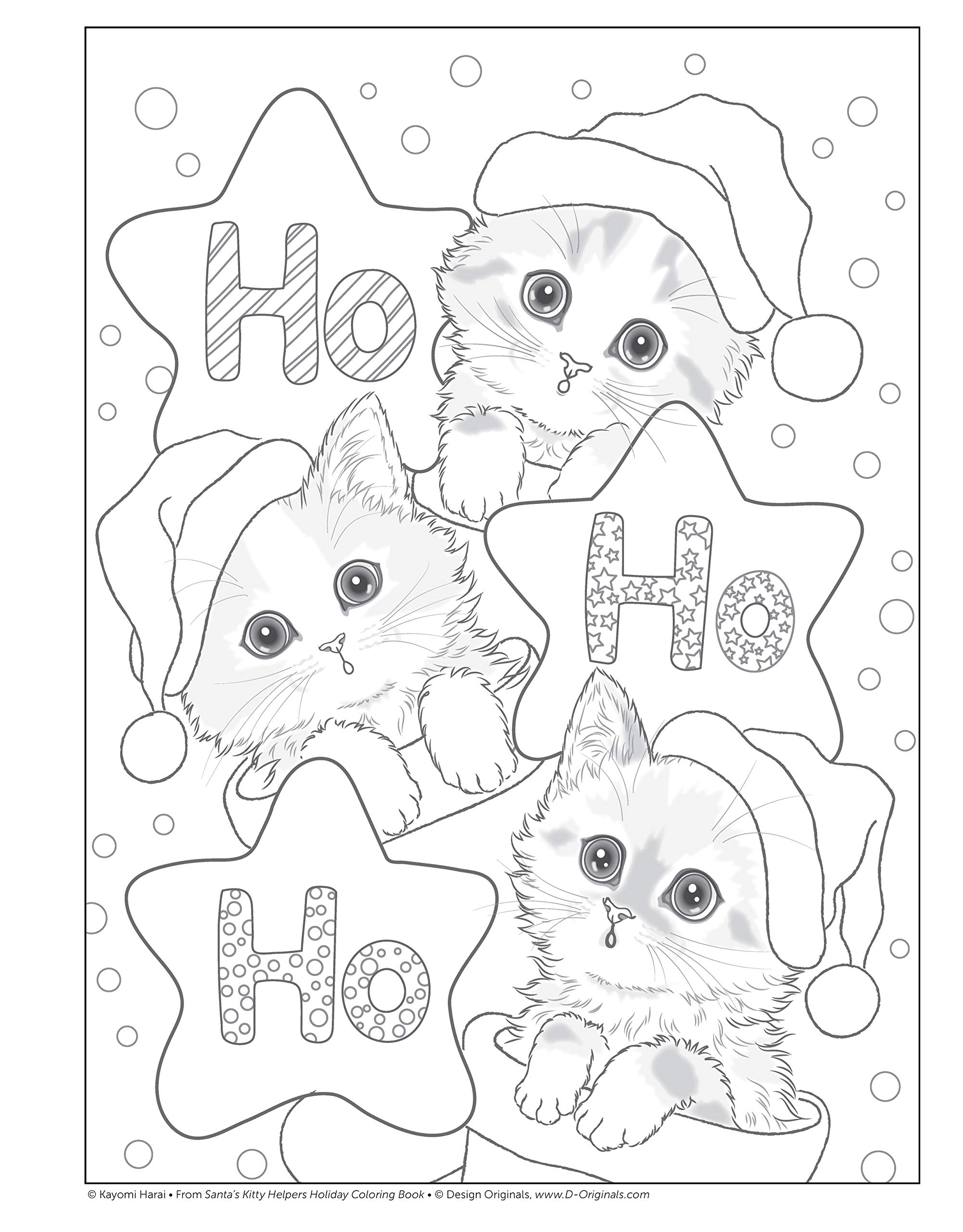 amazoncom santas kitty helpers holiday coloring book design originals 32 cute expressive eyed christmas cat designs by kayomi harai on high quality