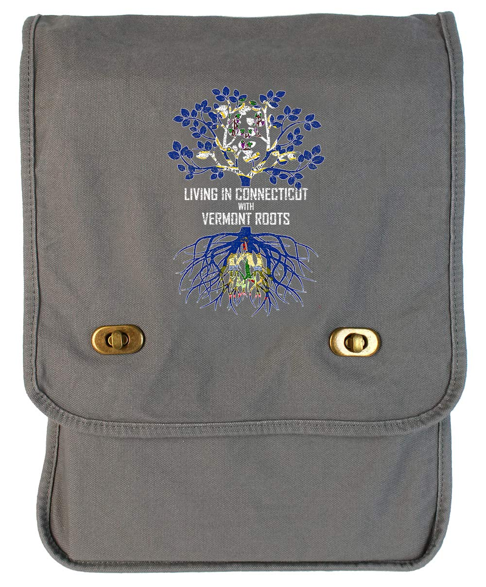 Tenacitee Living In Connecticut with Vermont Roots Grey Brushed Canvas Messenger Bag