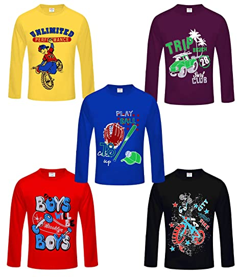 3f77fa125180f Kiddeo Boy s Cotton Full Sleeves T-Shirt - Pack of 5  Amazon.in ...