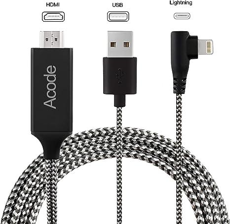 Cable Adaptador para iPhone a HDMI, Acode 6,6ft iPhone a HDMI ...