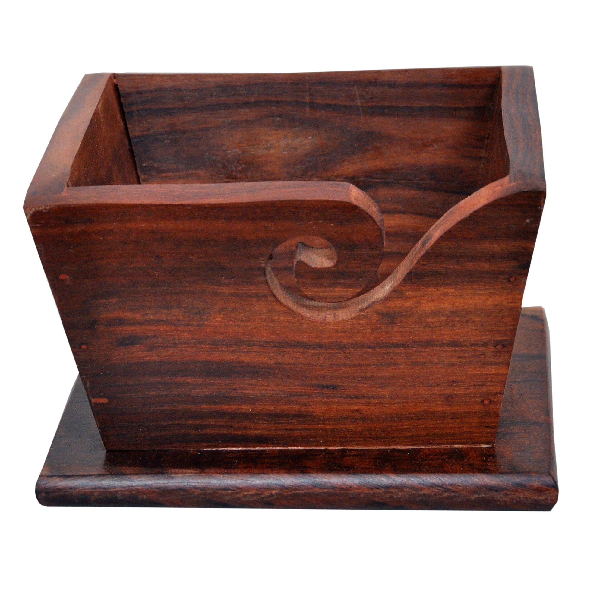 KITCHEN SUPPLIER Wooden Yarn Holder Hand Made with Rosewood for Knitting and Crochet- Stylish Square- Mother's Day Collection 2019
