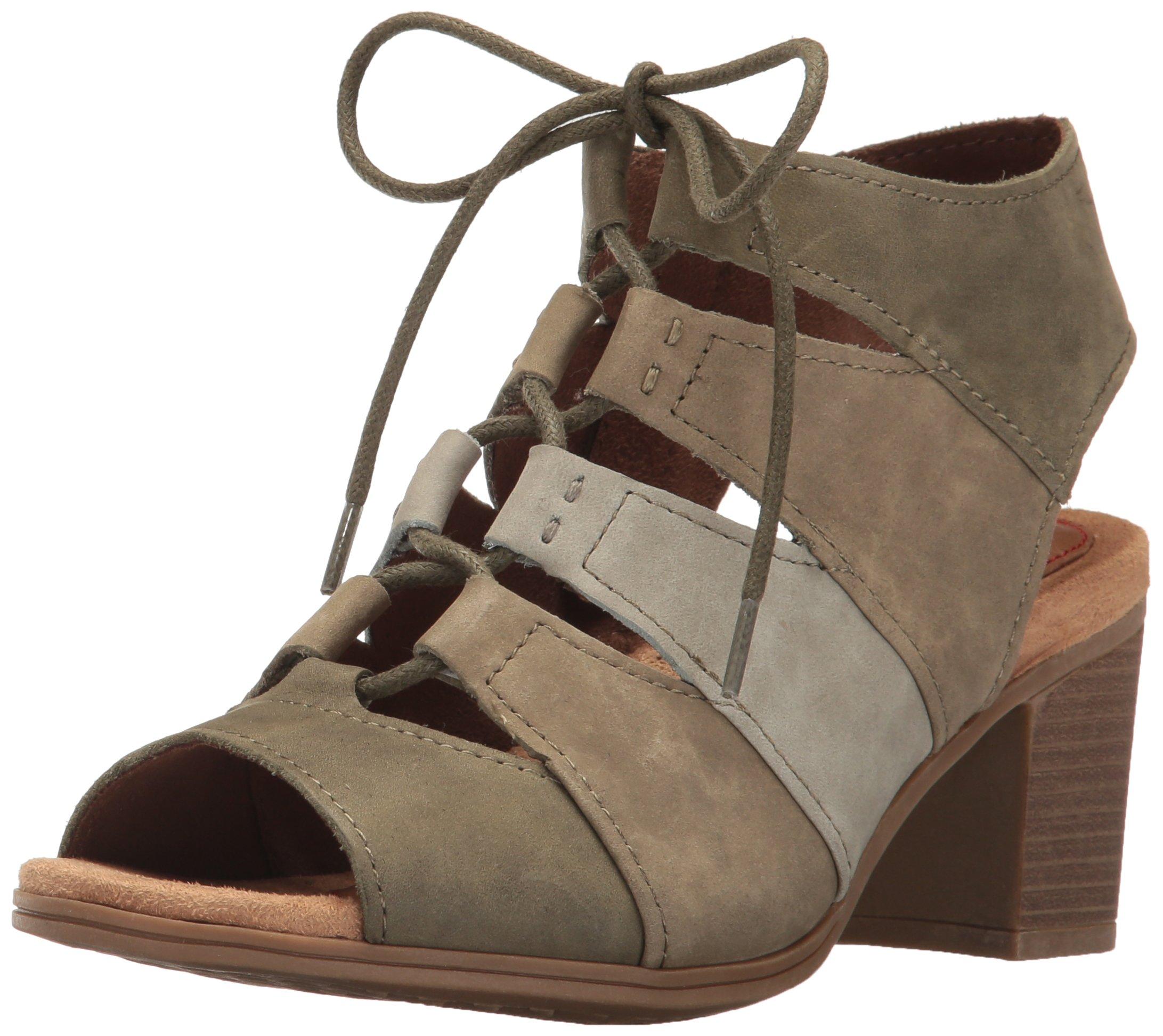 Rockport Women's Hattie Laceup Heeled Sandal, Green/Multi, 9 M US