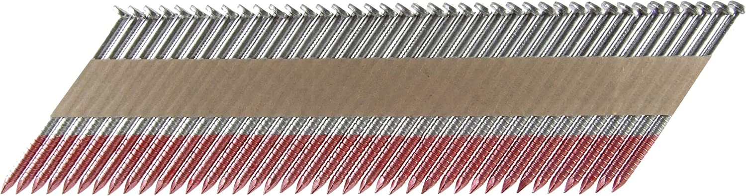 B00005JRKY B&C Eagle 3X120HDR/33 Offset Round Head 3-Inch x .120 x 33 Degree Hot Dip Galvanized Ring Shank Paper Tape Collated Framing Nails (2,500 per box) 81Mq23cr3PL.SL1500_