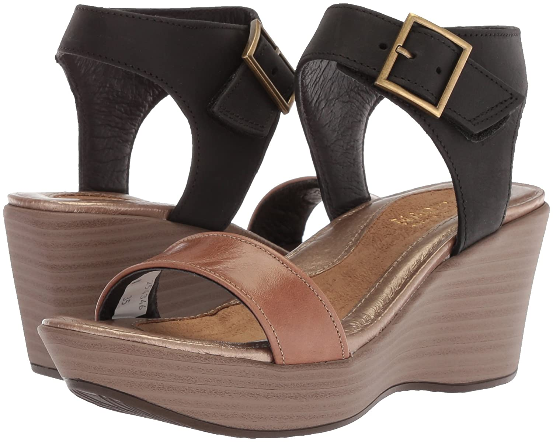 NAOT Women's Caprice Wedge Sandal B0742NSTZW 40 Narrow EU (9 US)|Arizona Tan Lthr/Oily Coal Nubuck