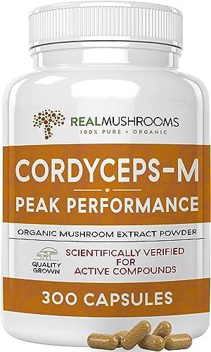 Cordyceps-M Peak Performance 300 Capsules, Organic 500g Vegan 7 Non-GMO Cordyceps Militaris Mushroom Supplement Capsules, Hot Water Extracted Cordyceps Mushroom Complex, 150-Day Supply, No Fillers