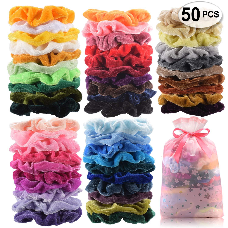 50 Pcs Premium Velvet Hair Scrunchies Hair Bands Scrunchy Hair Ties Ropes Ponytail holder for Women or Girls Hair Accessories with Gift bag (50 PcsVelvet Hair Scrunchies) by SEVEN STYLE