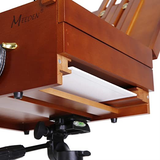 Lightweight French Box Easel for Plein Air Painting MEEDEN Ultimate Pochade Box with Aluminum Tripod Combo All in One Design,Make Outdoor Painting Easy and Fun