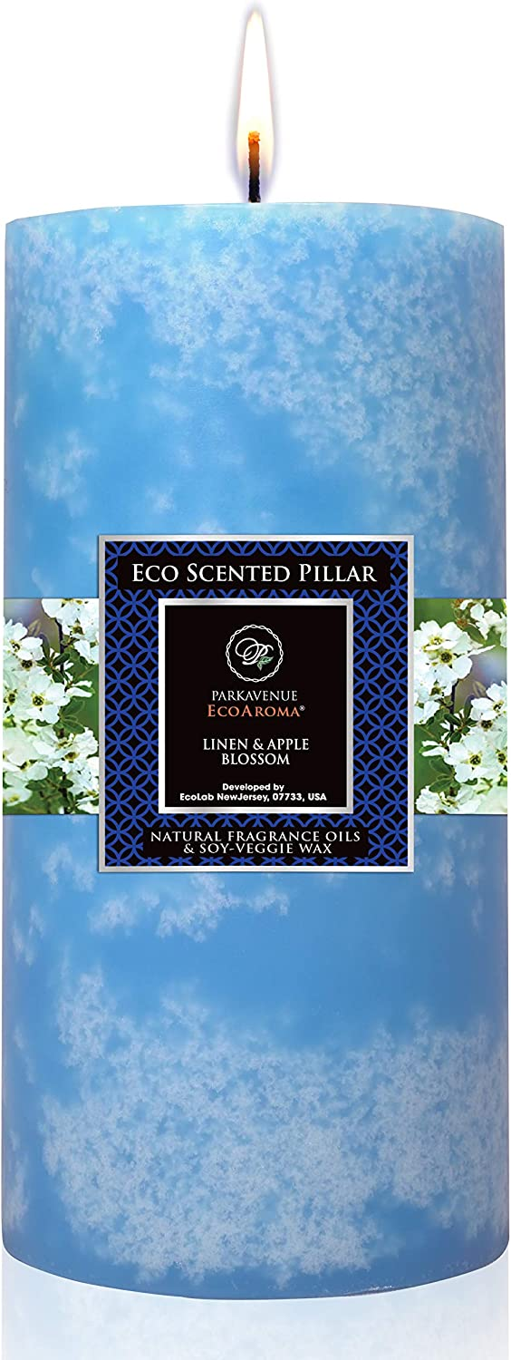 Eco Aroma Coco-Soy Candles, Fresh Linen & Apple Blossom Essential Oils Blue Scented Pillar Candles, 3 x 6 inch Long Lasting Candles for Home Decorations, 100% Naturals Coconut Soy Wax Blend