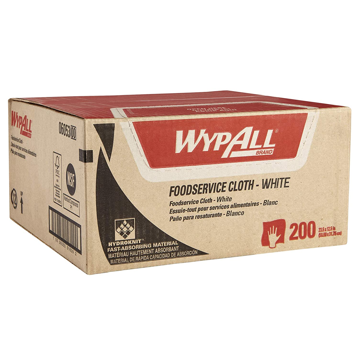 WypAll X50 Extended Use Foodservice Towels Reusable Wipers (06053), Quarterfold, White, 1 Box, 200 Sheets