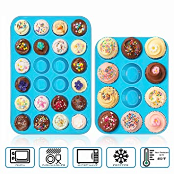 Silicona taza de juego de moldes para magdalenas – Juego de 24 Mini magdalenas bandeja 12