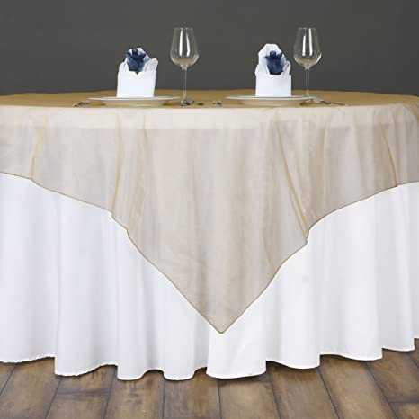Amazon Com Balsacircle 90x90 Inch Gold Sheer Organza Table Overlays Wedding Reception Party Catering Linens Decorations