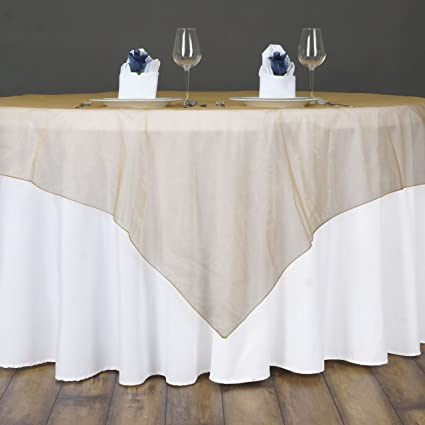BalsaCircle 90x90 Inch Gold Sheer Organza Table Overlays   Wedding  Reception Party Catering Table Linens