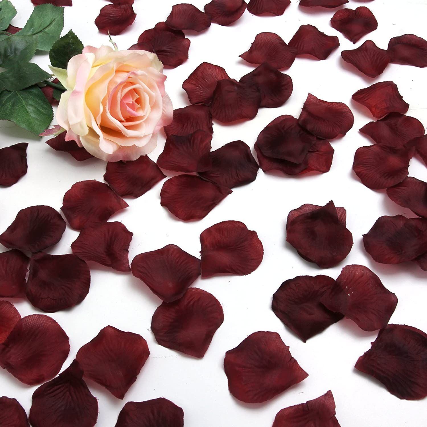 Best Quality 1000 pcs Silk Rose Petals Wedding Party Decorations Flower Favors (burgundy) AEQW-WER-AW147845