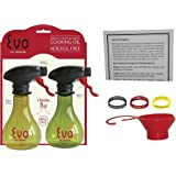 Evo Oil Sprayer, Set Of 2, 8 Ounce Refillable Spray Bottle With Funnel, ID bands And Oil Info. card.