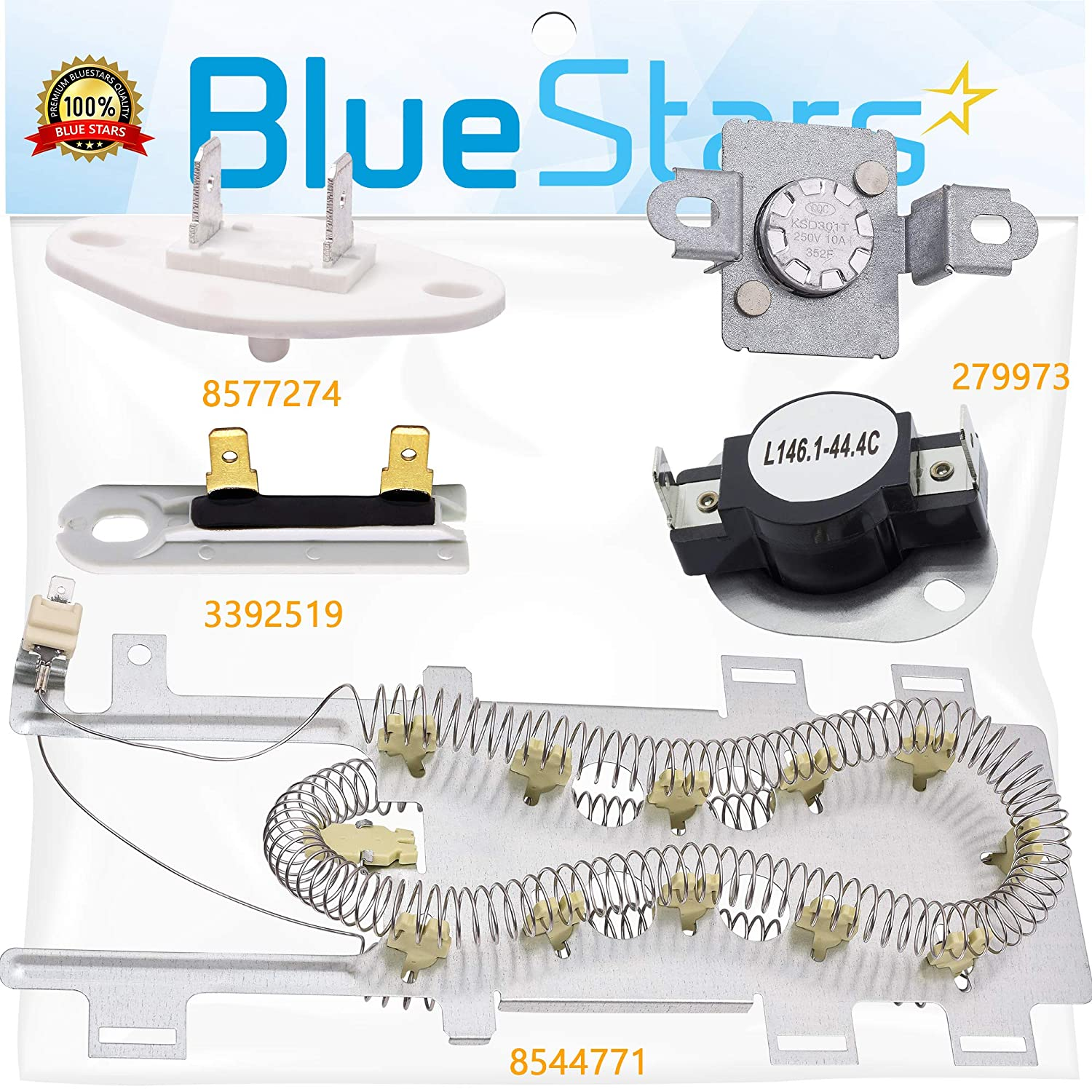 NEW 8544771 279973 3392519 8577274 Dryer Heating Element & Thermal Cut-off Kit with Thermistor and Thermal Fuse Dryer Repair Kit Replacement by Blue Stars – Exact Fit For Whirlpool Maytag Dryers