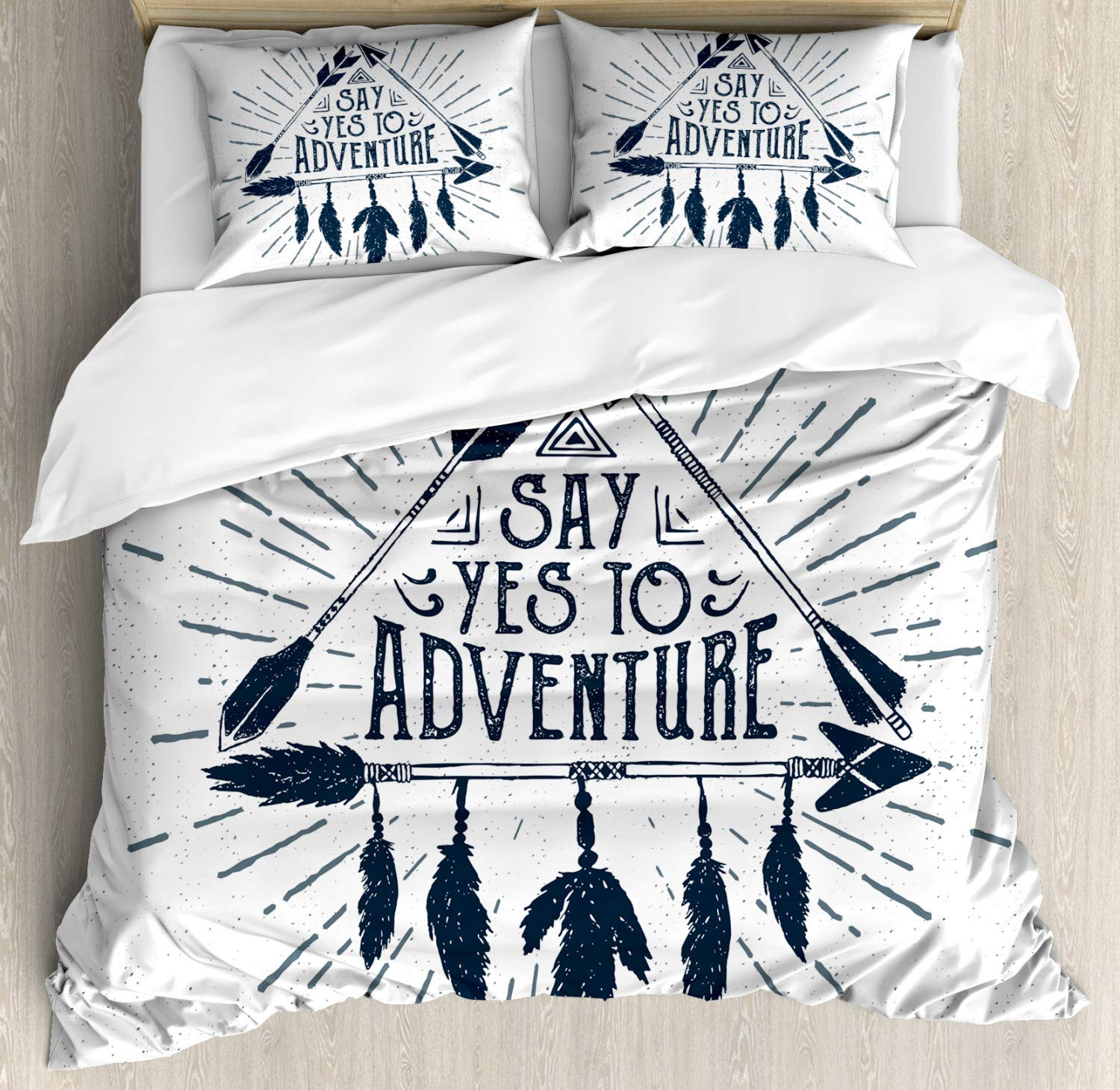 Indigo Ambesonne Adventure Duvet Cover Set Twin Size Adventure in Hand Drawn Tribal Frame with Arrows and Feathers Ethnic Artwork Decorative 2 Piece Bedding Set with 1 Pillow Sham