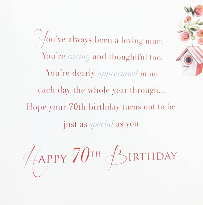 Mums 70th Birthday Card Large Greeting Card For Mum Amazon