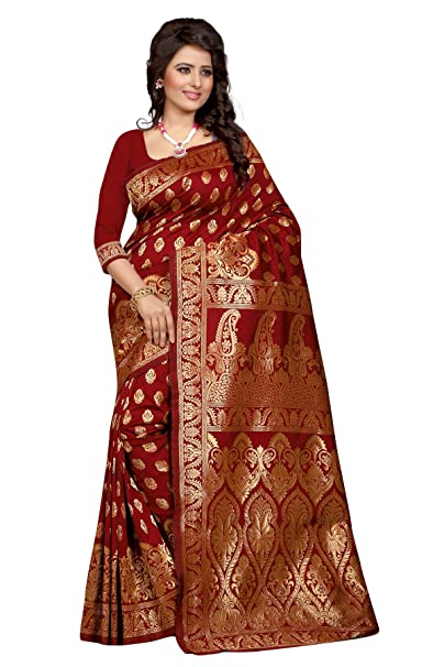 8271c3c6db Sugathari Women's Tussar Silk Saree With Blouse Piece (Banarasi 1002  Red_Red): Amazon.in: Clothing & Accessories