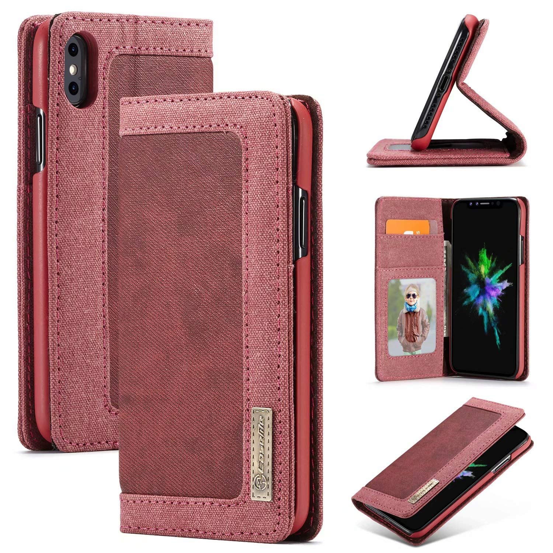 iPhone Xs Max Case, [Denim Series Wallet Case] Premium Canvas Denim Flip Folio Protective Case with Stand (Color : Blue) ju-sheng.