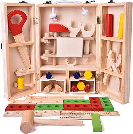 Tool Box for Boys and Toddlers FUN LITTLE TOYS 36 Pieces Kids Tool Set