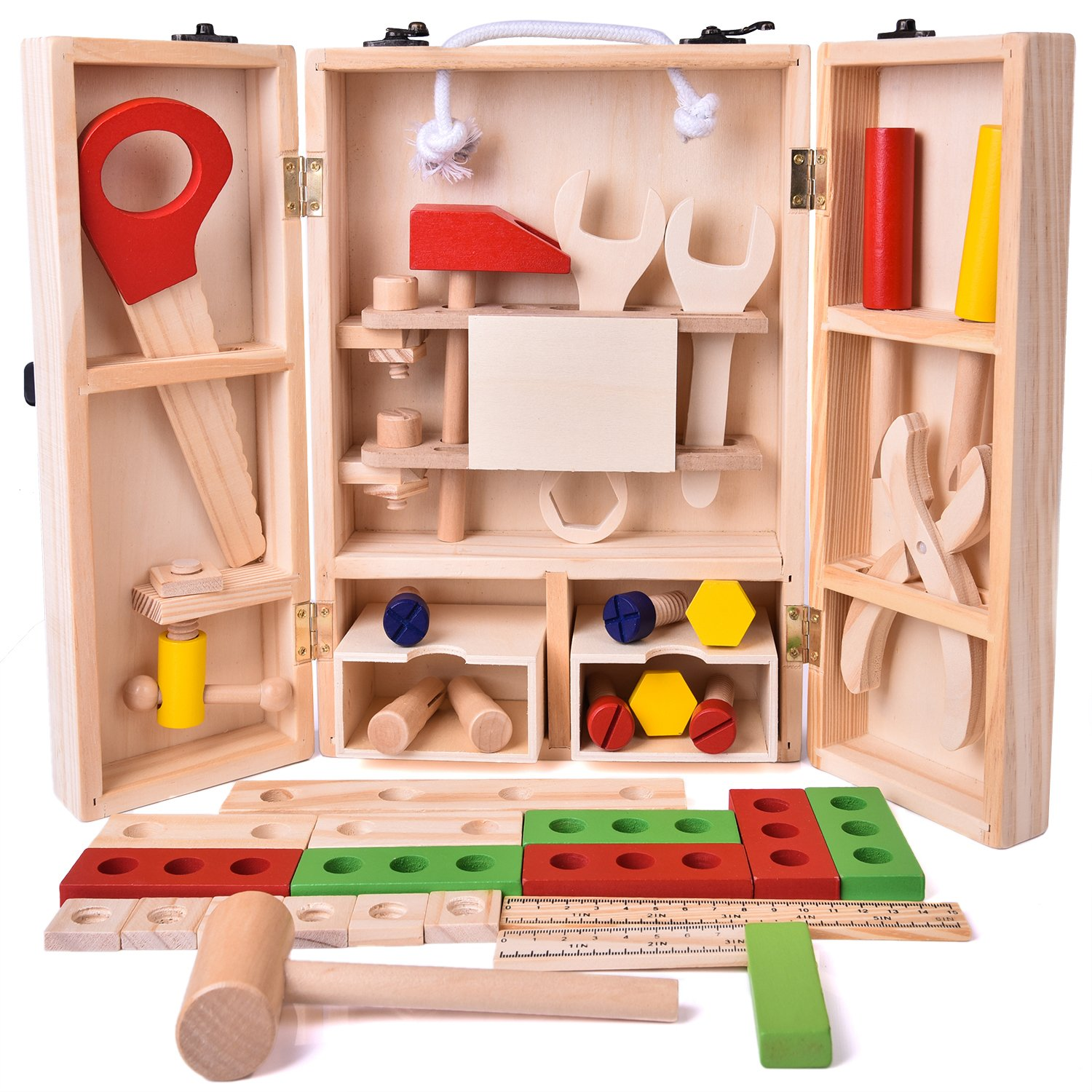 Fun Little Toys 43 PCs Wooden Tool Box Set, Kids Tool Kits, Boy Gift Learning Toy Construction Set Pretend Playset