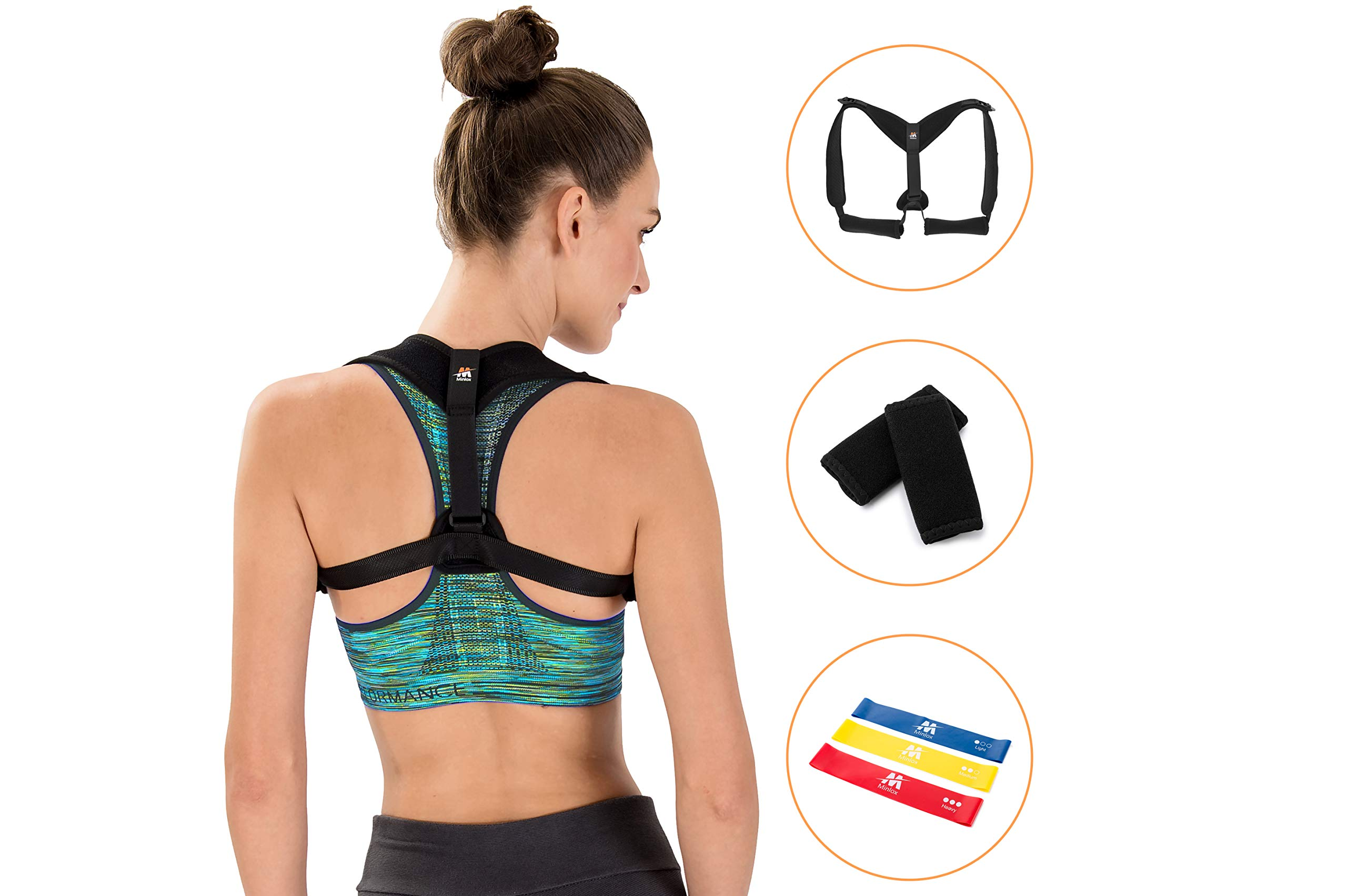 Posture Corrector for Women & Men - Effective and Comfortable - Shoulder Support & Neck Pain Relief - Include Underarm Pads and Bonus Set of Resistance Loop Exercise Bands with Carry Bag