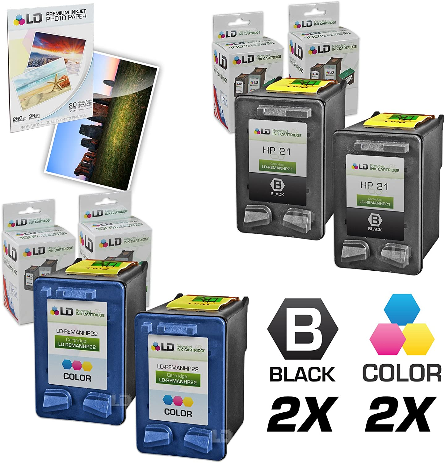 LD Remanufactured Ink Cartridge Replacement for HP 21 & 22 (2 Black, 2 Color, 4-Pack)
