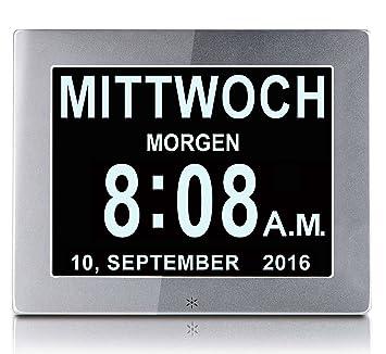 """OLDTIME 8"""" Reloj Digital Grande, Sin Abreviaturas, Reloj Despertador Calendario Para Ancianos y"""