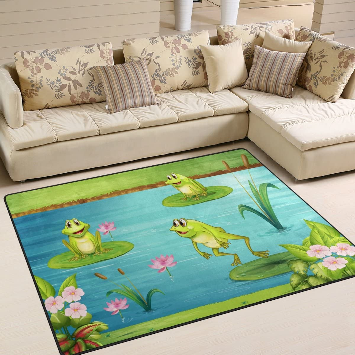 ALAZA Water Lily Three Frogs Area Rug Rugs for Living Room Bedroom 7 x5