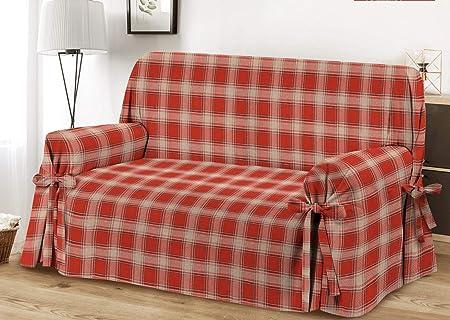 HomeLife – Cubre sillón – Elegante Protector de sofás a Cuadros – Funda de sofá de algodón para Proteger del Polvo, Las Manchas y el Desgaste, Fabricado en Italia – Burdeos: Amazon.es: Hogar