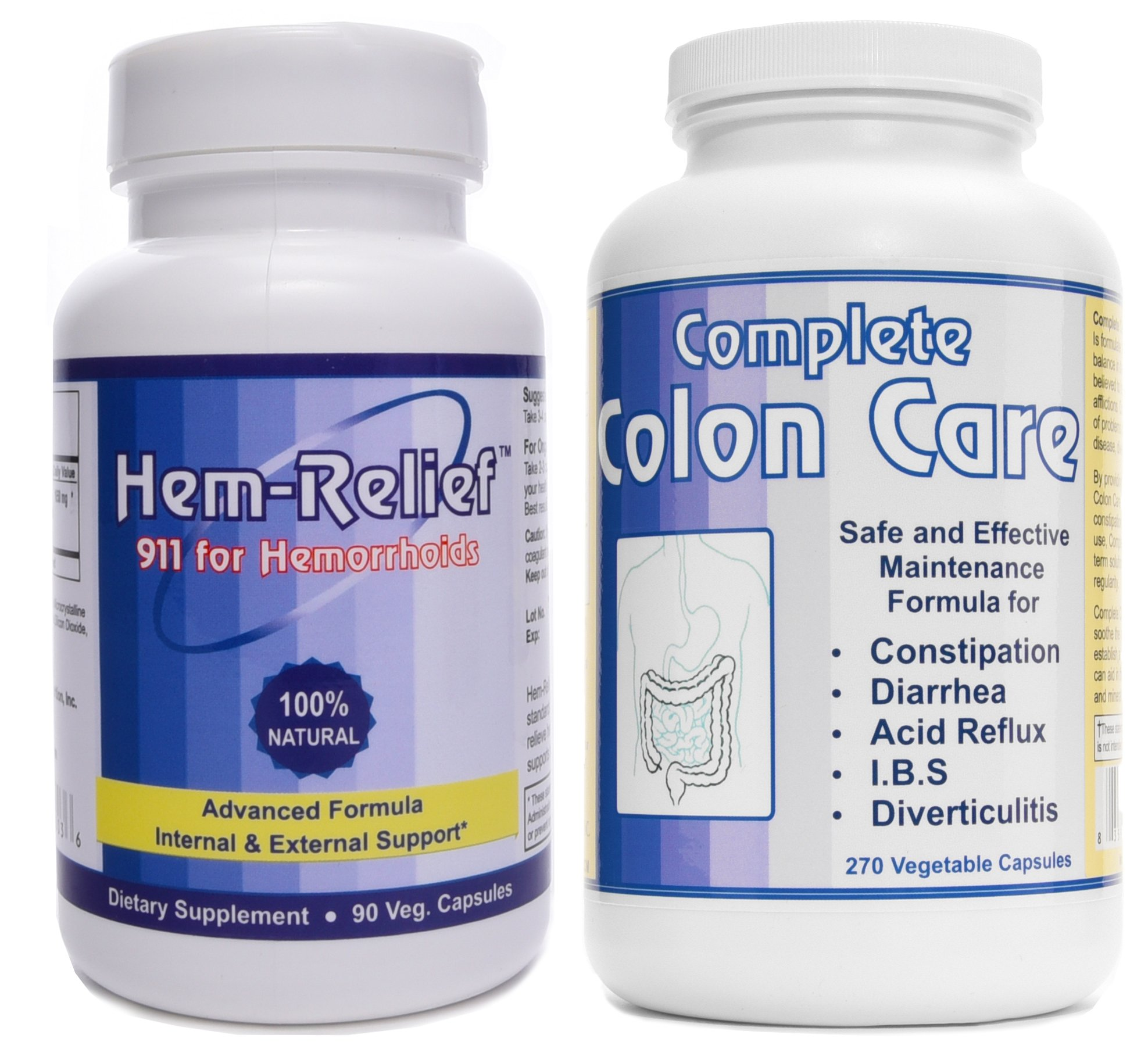 Western Herbal and Nutrition | Hem-Relief (90 caps) & Complete Colon Care (270 caps) | Advanced Hemorrhoid Care | 100% Natural Formula | Internal & External Support | 2 Bottle Pack by Hem Relief