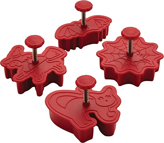 Red Cake Boss Decorating Tools 4-Piece Work Truck Fondant Press Set