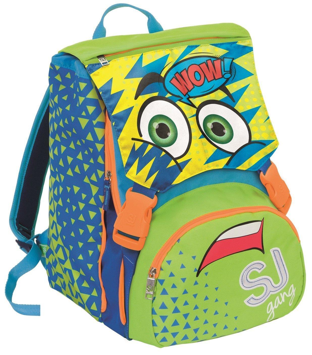 bdf2441365 ... Zaino scuola scuola scuola sdoppiabile SJ Gang - FACCE DA SJ - Azzurro  verde - FLIP ...