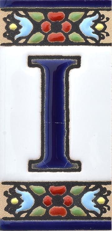 Image ofART ESCUDELLERS Numeros y Letras en azulejo Ceramica policromada, Pintados a Mano técnica Cuerda Seca. Nombres y direcciones. Diseño Flores Mini 7,3 cm x 3,5 cm. (Letra I)