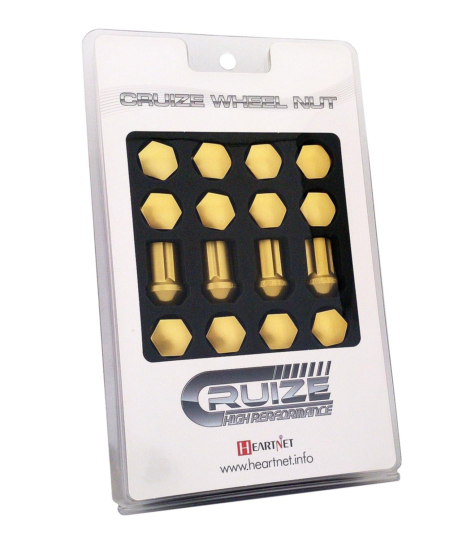 CRUIZE アルミ冷間鍛造ナット P1.5 35mm ロックナット付き 20本セット イエロー B011N66LVQ イエロー イエロー