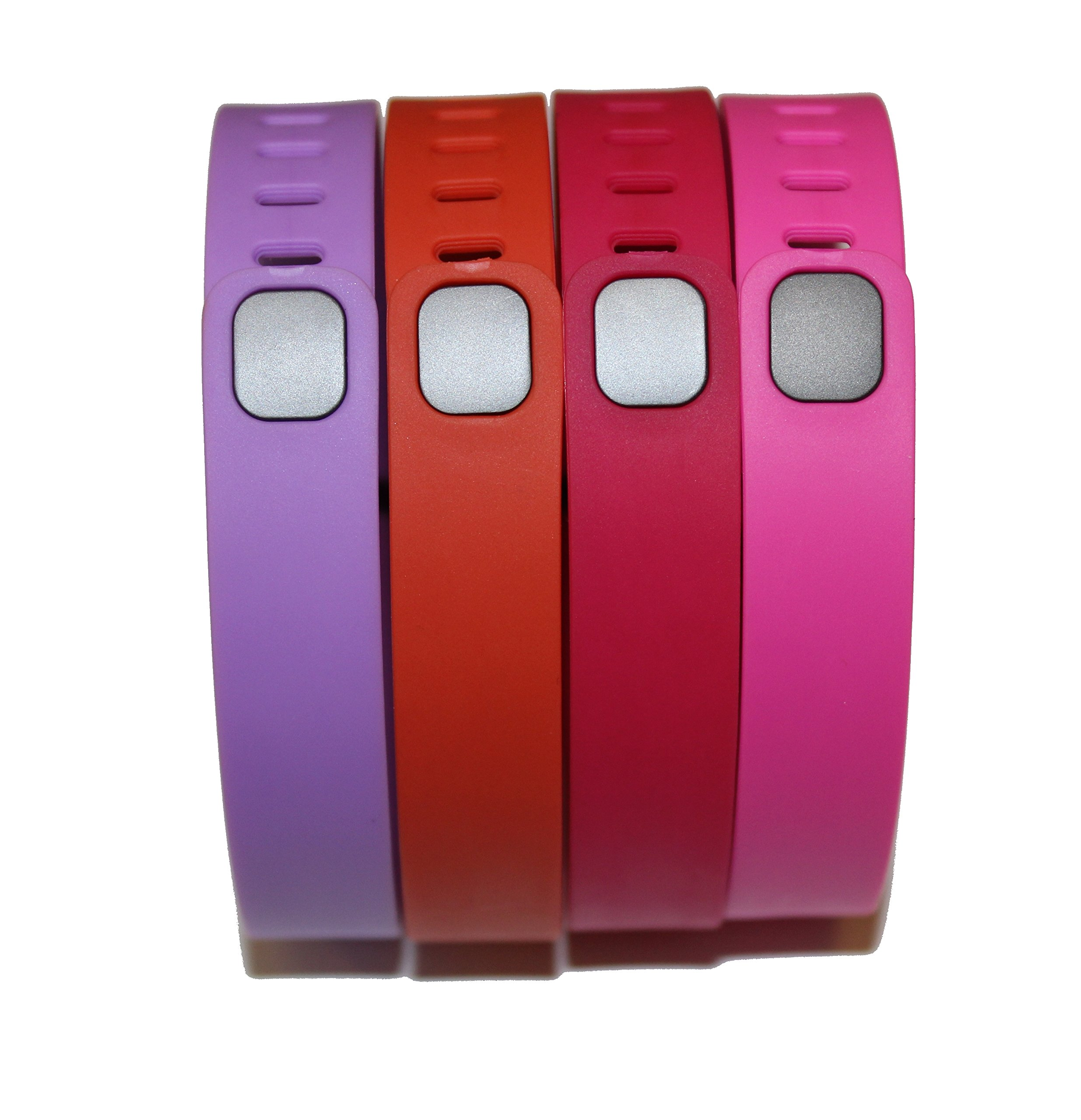Set 4 Large Size 1 Violet 1 Tangerine 1 Rose/Fuchsia 1 Pink/Purple Rubber Bands (With Clasps) for Fitbit Flex Bracelet Tracking Exercise Activity Sport+1 Free Gift Waterproof Sunglasses, Eyeglasses Soft Pouch Bag Case/ Random Color/