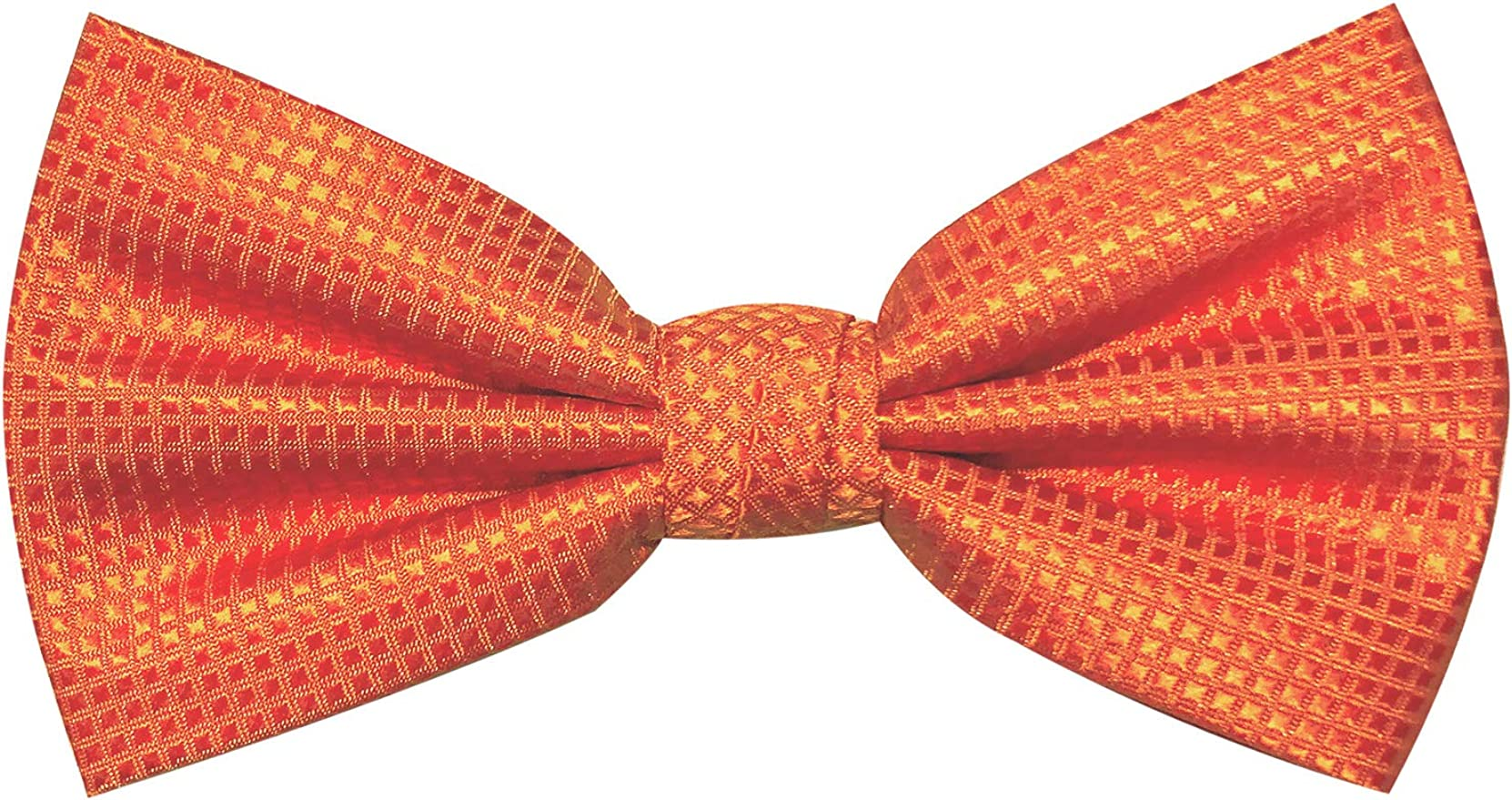 Jacob Alexander Boys Woven Subtle Mini Squares Adjustable Pre-Tied Banded Bow Tie Gold