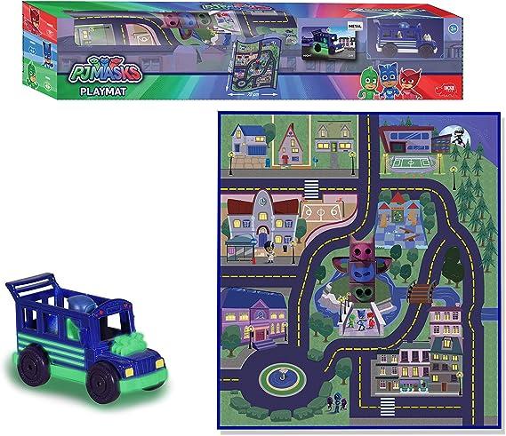 Dickie Toys 203145003 PJ Masks Playmat-Alfombra de juego antideslizante (80 x 70 cm), diseño de Night Ninja Bus, multicolor , color/modelo surtido