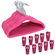 Corodo Velvet Hangers with Clips Hot Pink, Baby Clothes Hangers Heavy Duty Non Slip, Kids Clothing Hangers Ultra Thin for Blouses, Dress, Pants, 30 Pack Pants Hangers with 20 Pack Velvet Hangers Clips